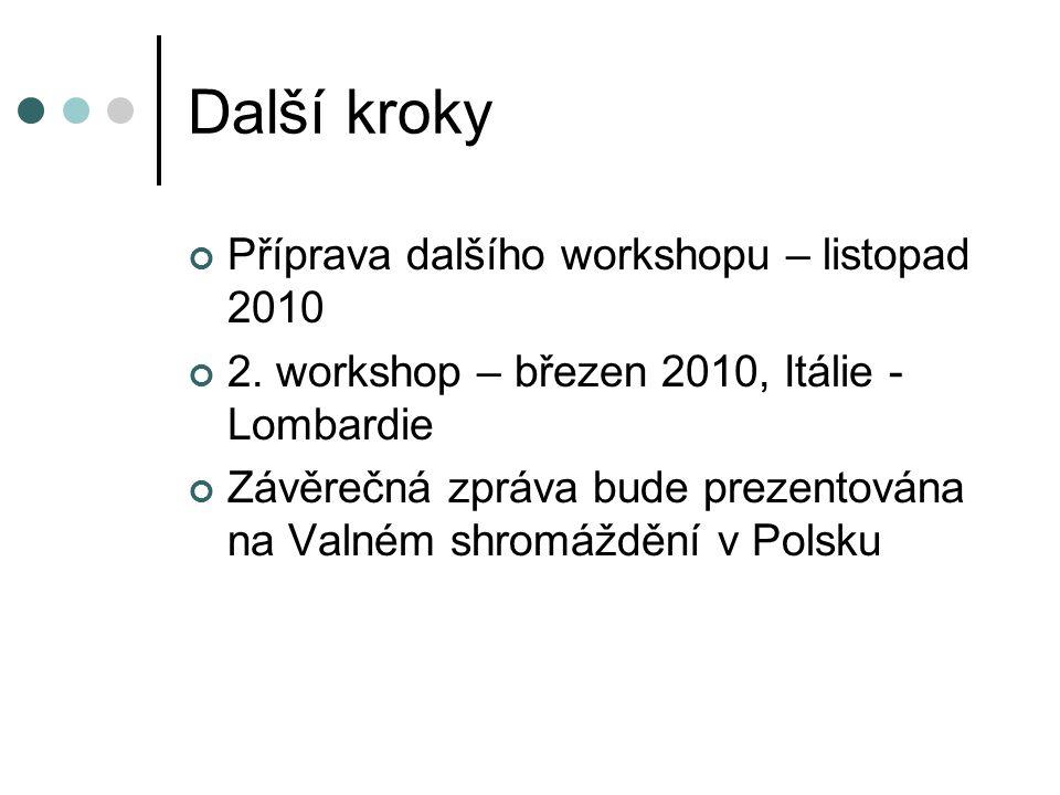 Další kroky Příprava dalšího workshopu – listopad 2010 2. workshop – březen 2010, Itálie - Lombardie Závěrečná zpráva bude prezentována na Valném shro