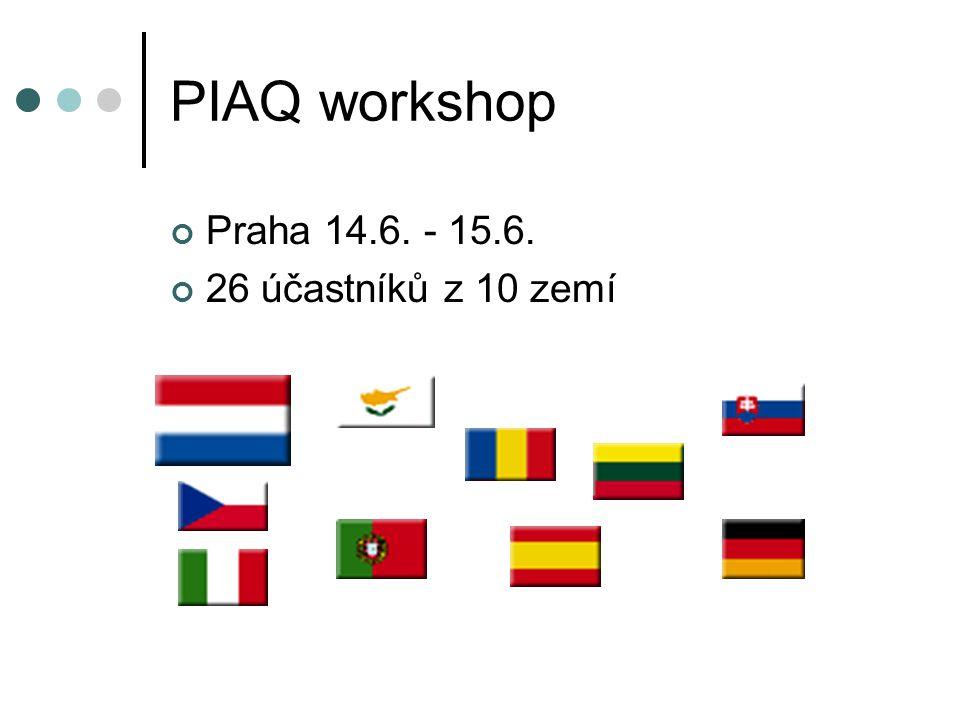 PIAQ workshop Praha 14.6. - 15.6. 26 účastníků z 10 zemí