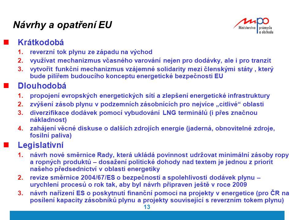 13 Návrhy a opatření EU Krátkodobá 1.reverzní tok plynu ze západu na východ 2.využívat mechanizmus včasného varování nejen pro dodávky, ale i pro tran