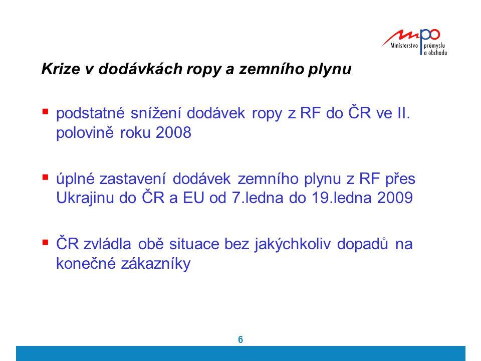 6 Krize v dodávkách ropy a zemního plynu  podstatné snížení dodávek ropy z RF do ČR ve II. polovině roku 2008  úplné zastavení dodávek zemního plynu