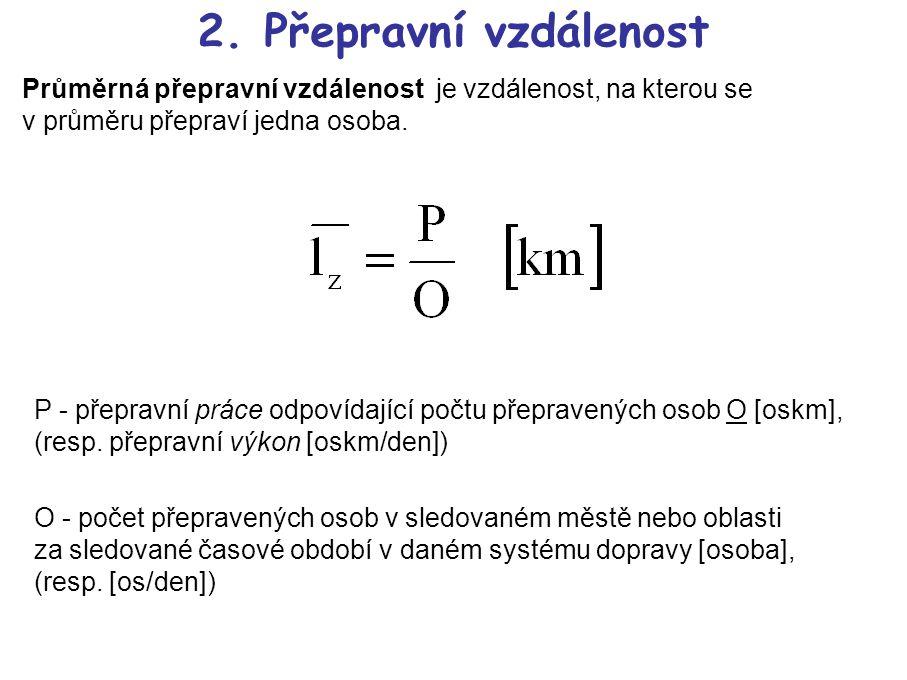 2. Přepravní vzdálenost Průměrná přepravní vzdálenost je vzdálenost, na kterou se v průměru přepraví jedna osoba. P - přepravní práce odpovídající poč