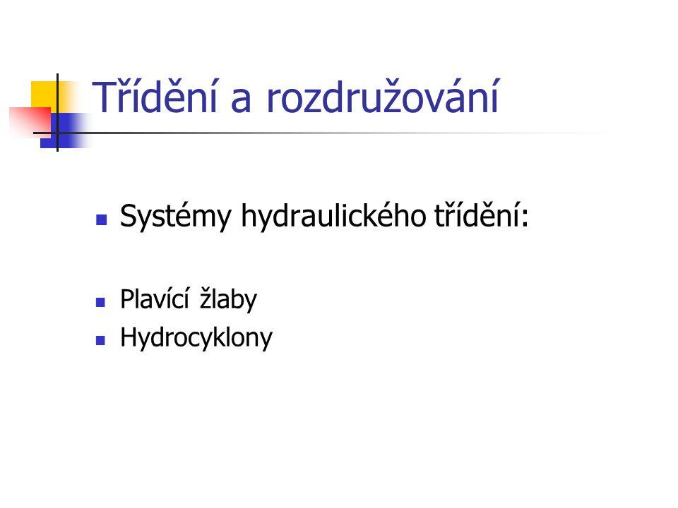 Třídění a rozdružování Systémy hydraulického třídění: Plavící žlaby Hydrocyklony