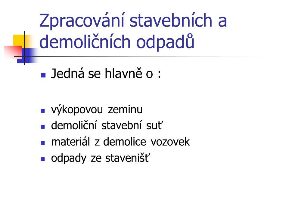 Zpracování stavebních a demoličních odpadů Jedná se hlavně o : výkopovou zeminu demoliční stavební suť materiál z demolice vozovek odpady ze stavenišť
