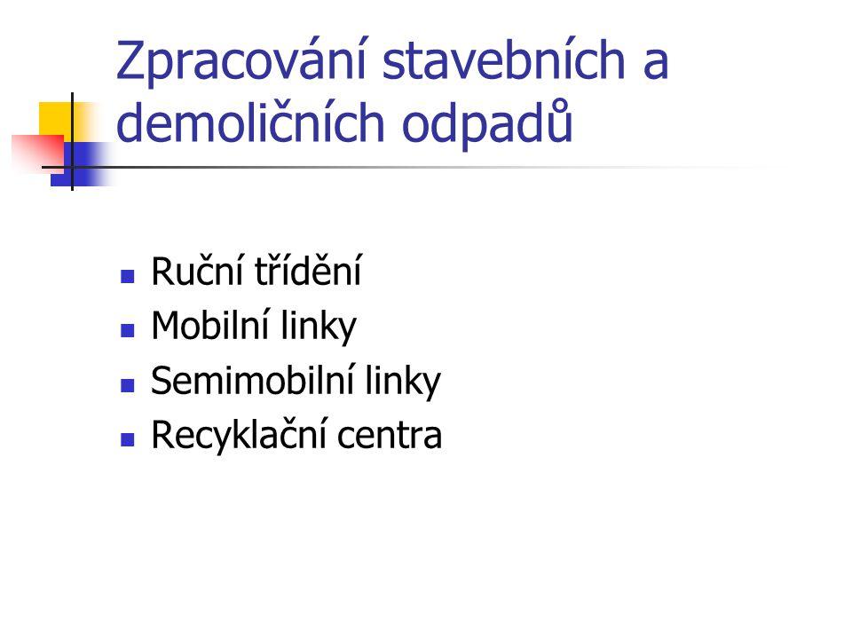 Zpracování stavebních a demoličních odpadů Ruční třídění Mobilní linky Semimobilní linky Recyklační centra