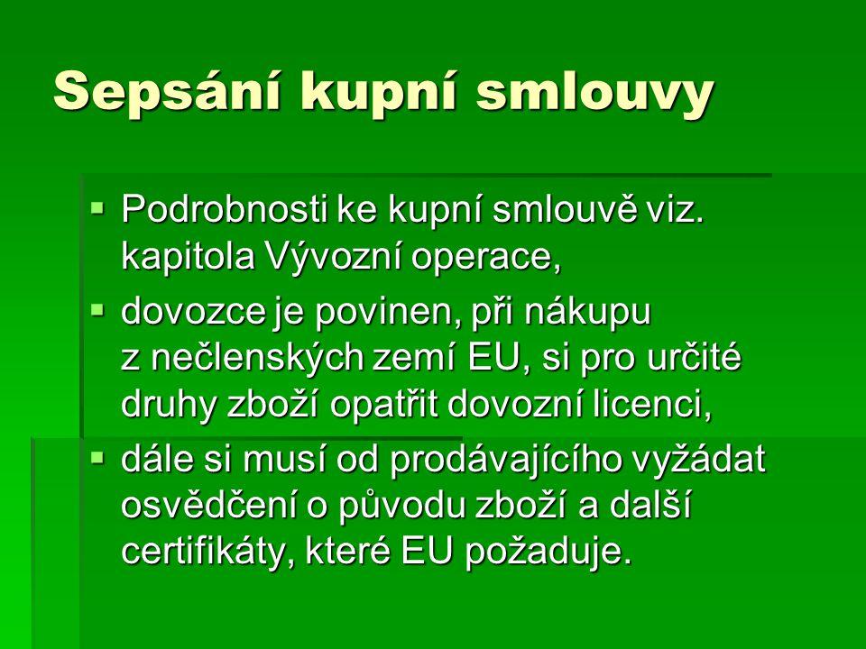 Sepsání kupní smlouvy  Podrobnosti ke kupní smlouvě viz. kapitola Vývozní operace,  dovozce je povinen, při nákupu z nečlenských zemí EU, si pro urč