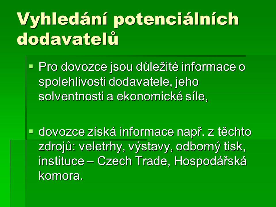 Vyhledání potenciálních dodavatelů  Pro dovozce jsou důležité informace o spolehlivosti dodavatele, jeho solventnosti a ekonomické síle,  dovozce získá informace např.