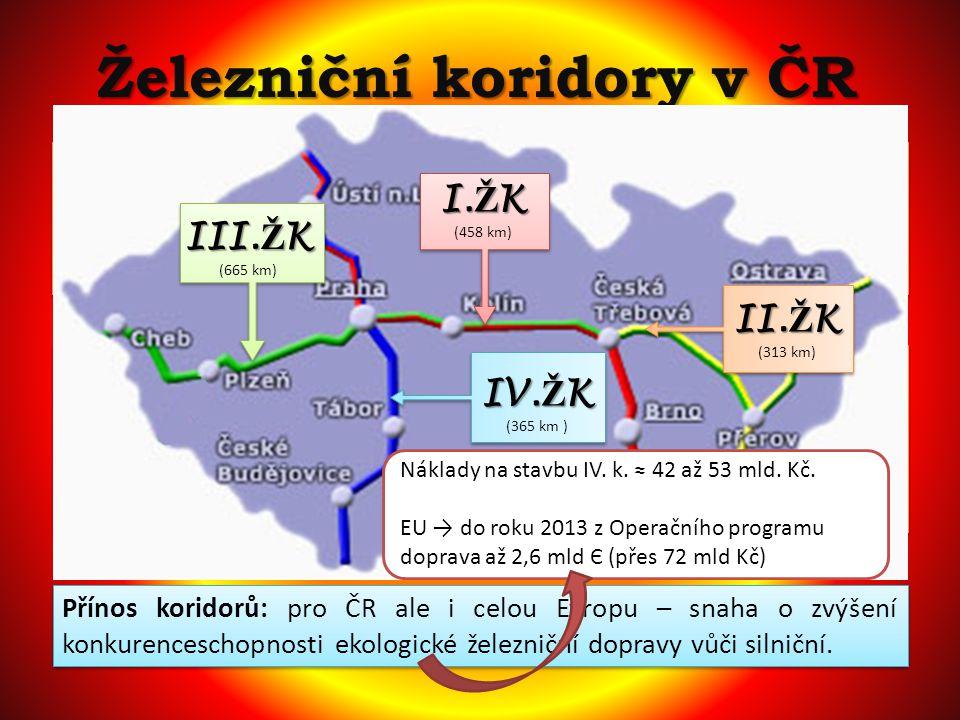 Železniční koridory v ČR základní parametry stanovené v evropských Dohodách AGC a AGTC: umožnění rychlosti 160 km/hod maximální možný tlak na nápravu 22,5 tun průjezdný profil dle norem UIC délka předjízdních kolejí 750 m základní parametry stanovené v evropských Dohodách AGC a AGTC: umožnění rychlosti 160 km/hod maximální možný tlak na nápravu 22,5 tun průjezdný profil dle norem UIC délka předjízdních kolejí 750 m Přínos koridorů: pro ČR ale i celou Evropu – snaha o zvýšení konkurenceschopnosti ekologické železniční dopravy vůči silniční.