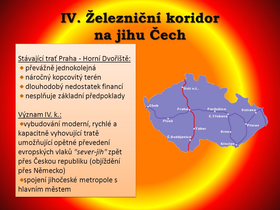 IV. Železniční koridor na jihu Čech Stávající trať Praha - Horní Dvořiště: převážně jednokolejná náročný kopcovitý terén dlouhodobý nedostatek financí