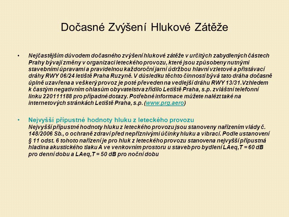 Dočasné Zvýšení Hlukové Zátěže Nejčastějším důvodem dočasného zvýšení hlukové zátěže v určitých zabydlených částech Prahy bývají změny v organizaci leteckého provozu, které jsou způsobeny nutnými stavebními úpravami a pravidelnou každoroční jarní údržbou hlavní vzletové a přistávací dráhy RWY 06/24 letiště Praha Ruzyně.