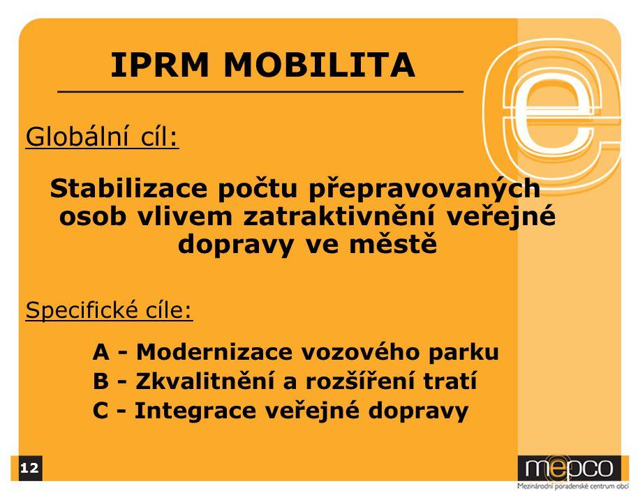 IPRM MOBILITA Globální cíl: Stabilizace počtu přepravovaných osob vlivem zatraktivnění veřejné dopravy ve městě Specifické cíle: A - Modernizace vozového parku B - Zkvalitnění a rozšíření tratí C - Integrace veřejné dopravy 12