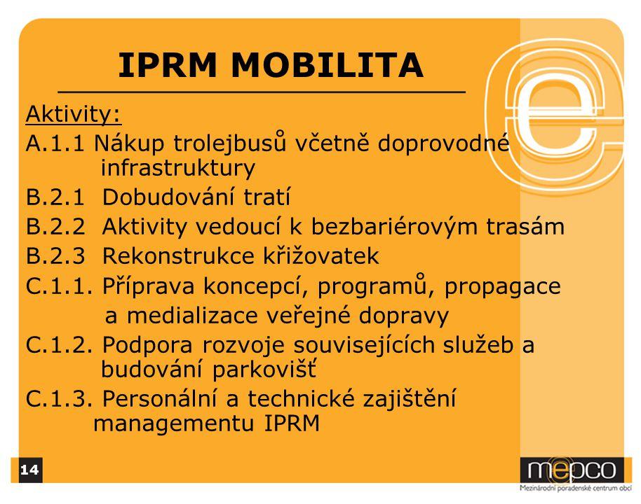 IPRM MOBILITA Aktivity: A.1.1 Nákup trolejbusů včetně doprovodné infrastruktury B.2.1 Dobudování tratí B.2.2 Aktivity vedoucí k bezbariérovým trasám B.2.3 Rekonstrukce křižovatek C.1.1.