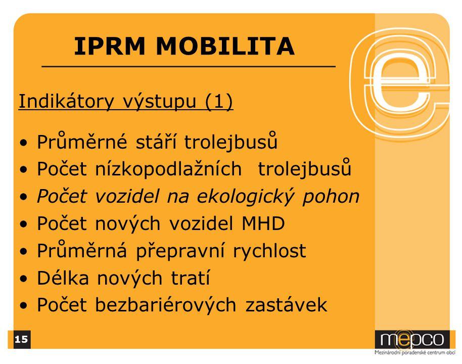 IPRM MOBILITA Indikátory výstupu (1) Průměrné stáří trolejbusů Počet nízkopodlažních trolejbusů Počet vozidel na ekologický pohon Počet nových vozidel MHD Průměrná přepravní rychlost Délka nových tratí Počet bezbariérových zastávek 15
