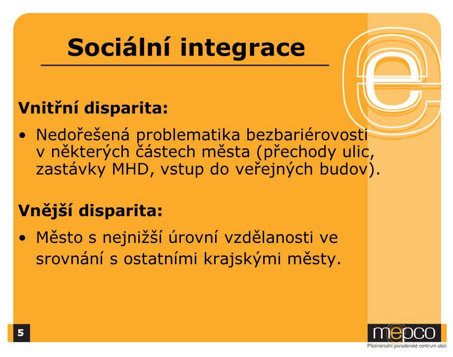 Sociální integrace Vnitřní disparita: Nedořešená problematika bezbariérovosti v některých částech města (přechody ulic, zastávky MHD, vstup do veřejných budov).