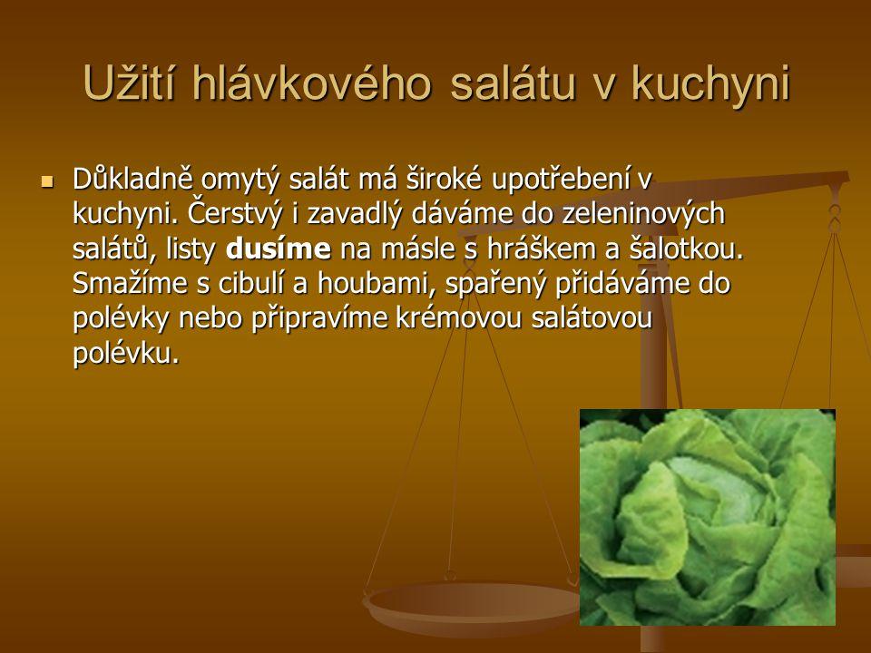 Užití hlávkového salátu v kuchyni Důkladně omytý salát má široké upotřebení v kuchyni. Čerstvý i zavadlý dáváme do zeleninových salátů, listy dusíme n