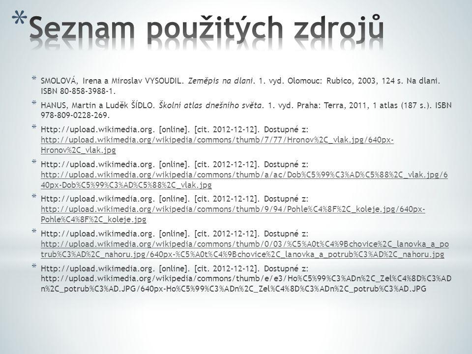 * SMOLOVÁ, Irena a Miroslav VYSOUDIL. Zeměpis na dlani. 1. vyd. Olomouc: Rubico, 2003, 124 s. Na dlani. ISBN 80-858-3988-1. * HANUS, Martin a Luděk ŠÍ