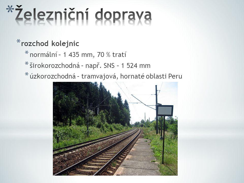 * rozchod kolejnic * normální – 1 435 mm, 70 % tratí * širokorozchodná – např. SNS – 1 524 mm * úzkorozchodná – tramvajová, hornaté oblasti Peru