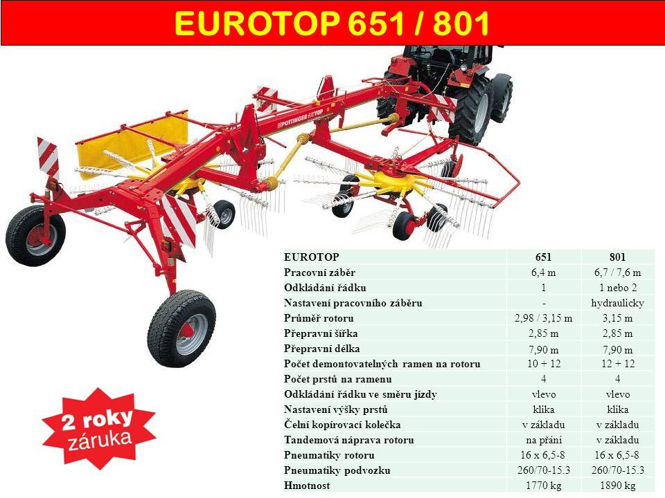 EUROTOP651801 Pracovní záběr6,4 m6,7 / 7,6 m Odkládání řádku11 nebo 2 Nastavení pracovního záběru-hydraulicky Průměř rotoru2,98 / 3,15 m3,15 m Přeprav