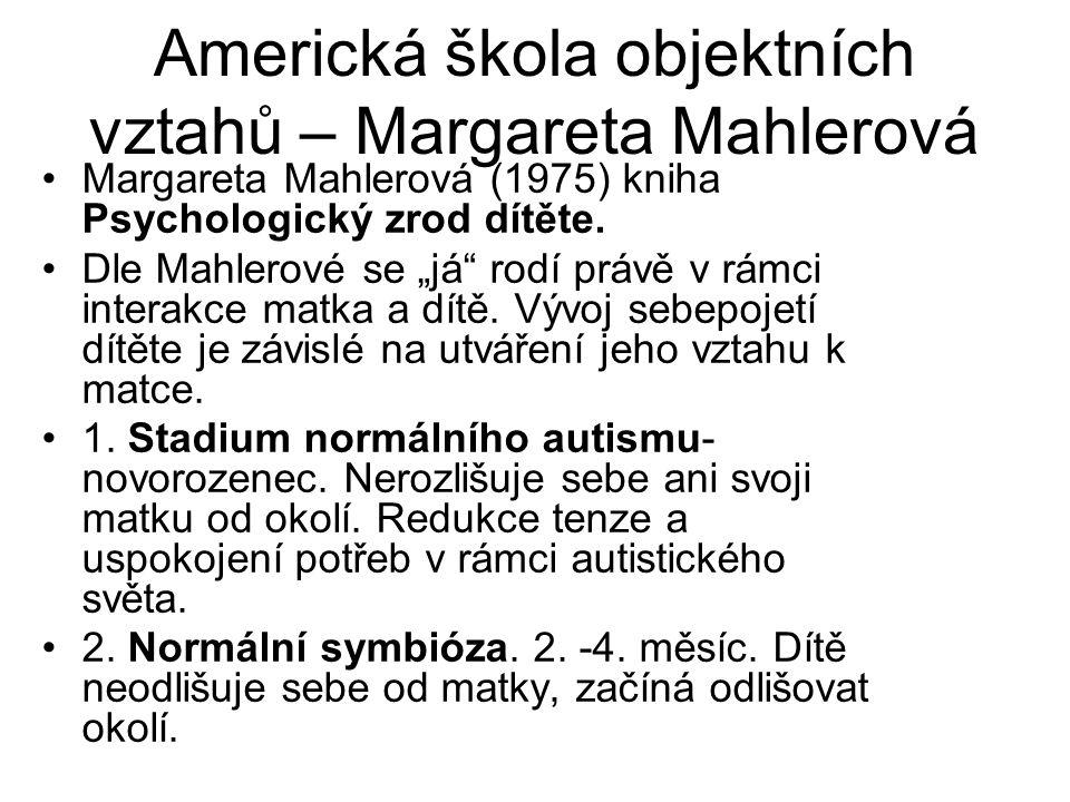 """Americká škola objektních vztahů – Margareta Mahlerová Margareta Mahlerová (1975) kniha Psychologický zrod dítěte. Dle Mahlerové se """"já"""" rodí právě v"""