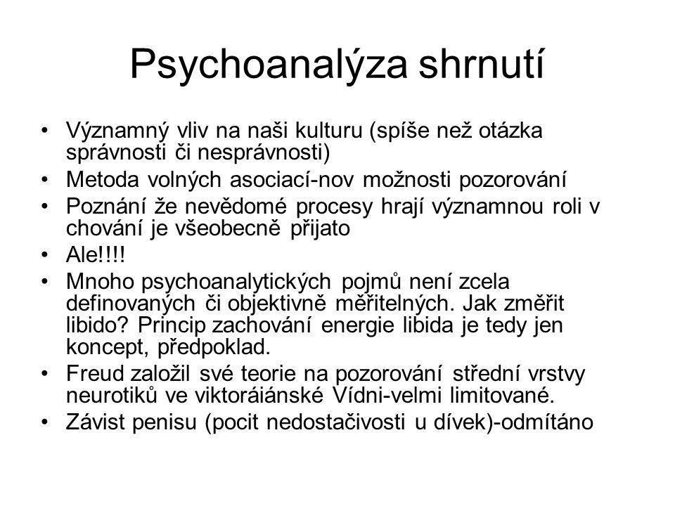 Psychoanalýza shrnutí Významný vliv na naši kulturu (spíše než otázka správnosti či nesprávnosti) Metoda volných asociací-nov možnosti pozorování Pozn
