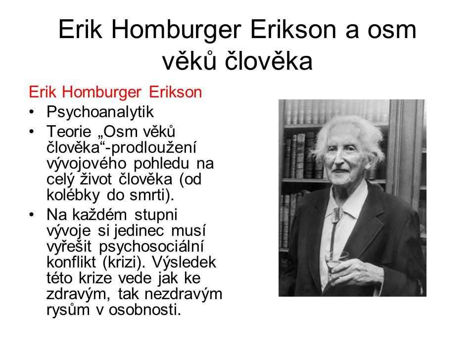 """Erik Homburger Erikson a osm věků člověka Erik Homburger Erikson Psychoanalytik Teorie """"Osm věků člověka""""-prodloužení vývojového pohledu na celý život"""