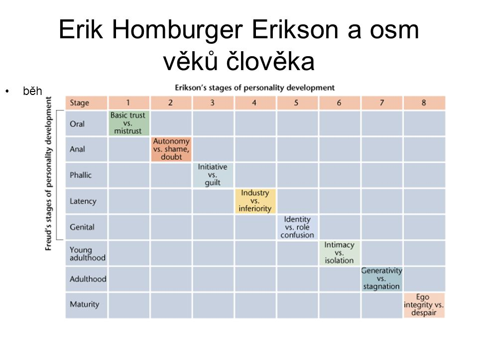 Erik Homburger Erikson a osm věků člověka běh života člověka.
