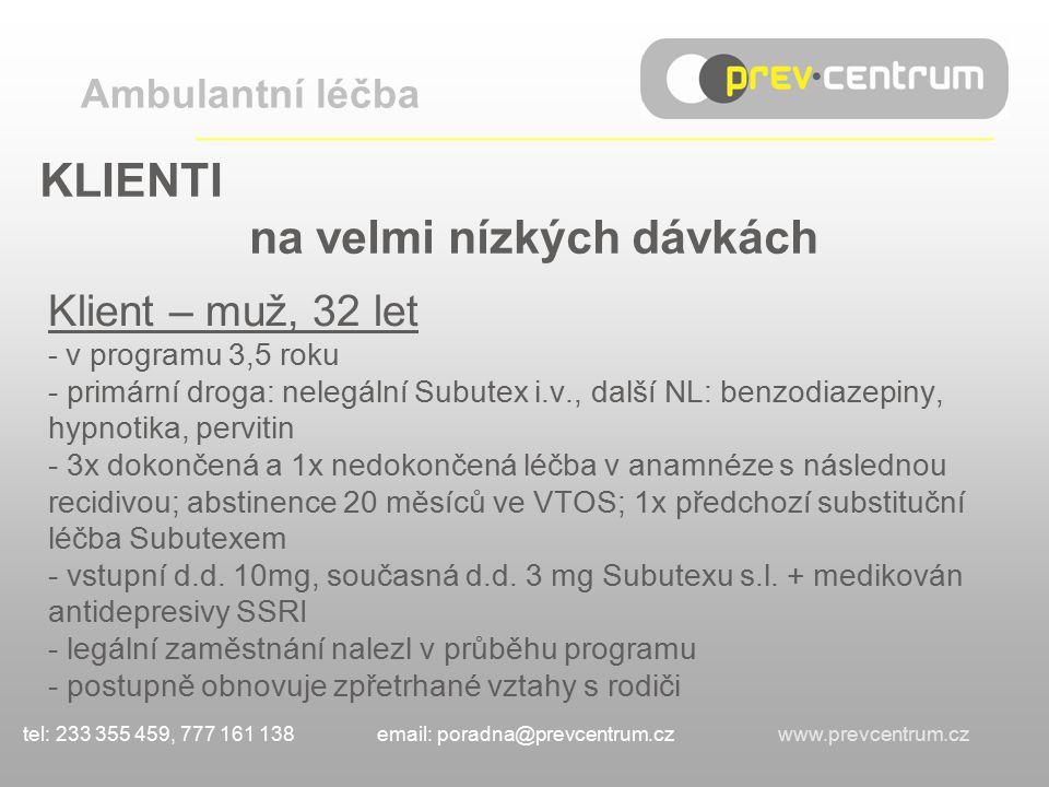 KLIENTI na velmi nízkých dávkách Klient – muž, 32 let - v programu 3,5 roku - primární droga: nelegální Subutex i.v., další NL: benzodiazepiny, hypnotika, pervitin - 3x dokončená a 1x nedokončená léčba v anamnéze s následnou recidivou; abstinence 20 měsíců ve VTOS; 1x předchozí substituční léčba Subutexem - vstupní d.d.