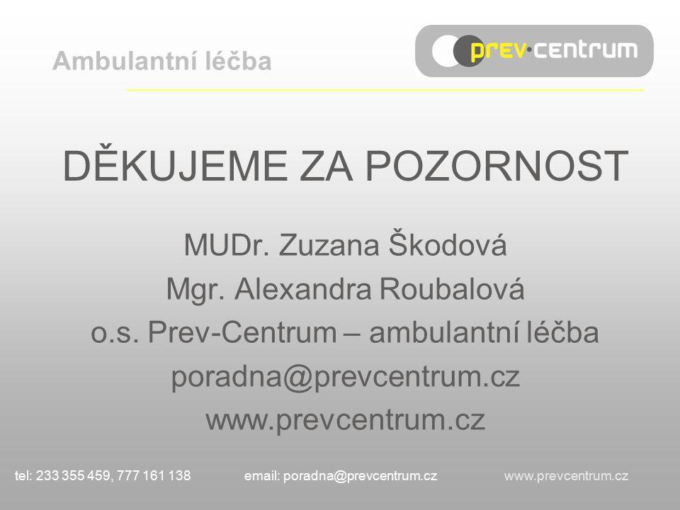 DĚKUJEME ZA POZORNOST MUDr.Zuzana Škodová Mgr. Alexandra Roubalová o.s.