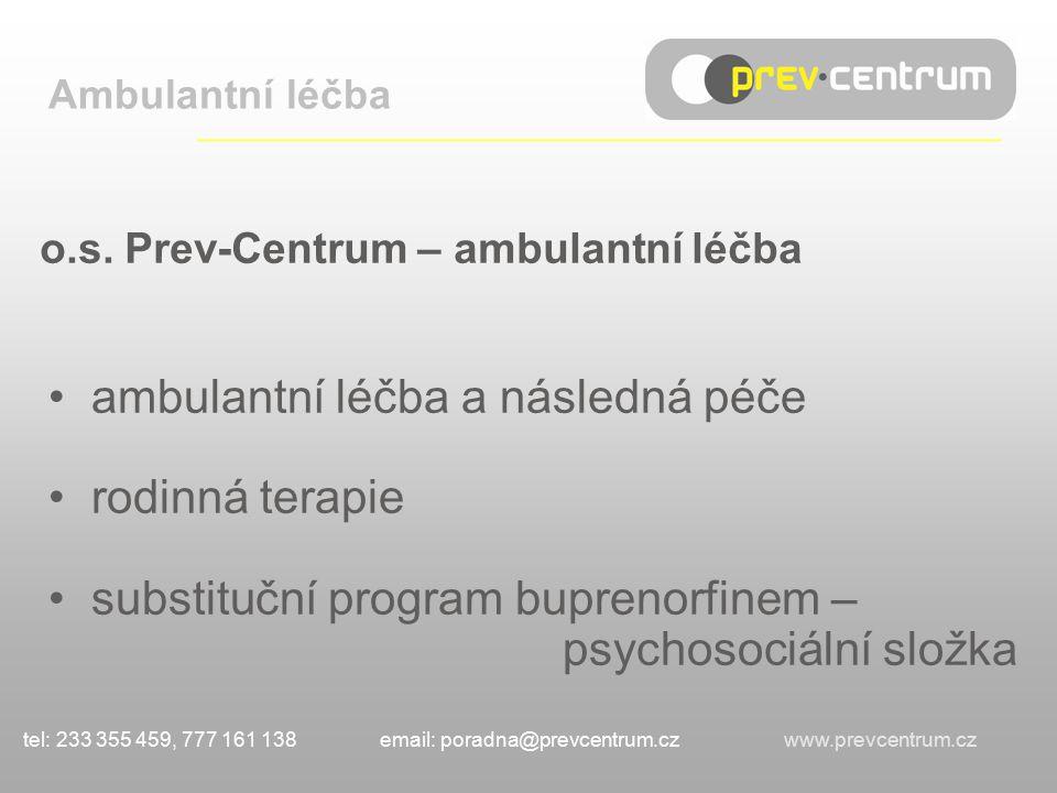o.s. Prev-Centrum – ambulantní léčba ambulantní léčba a následná péče rodinná terapie substituční program buprenorfinem – psychosociální složka Ambula