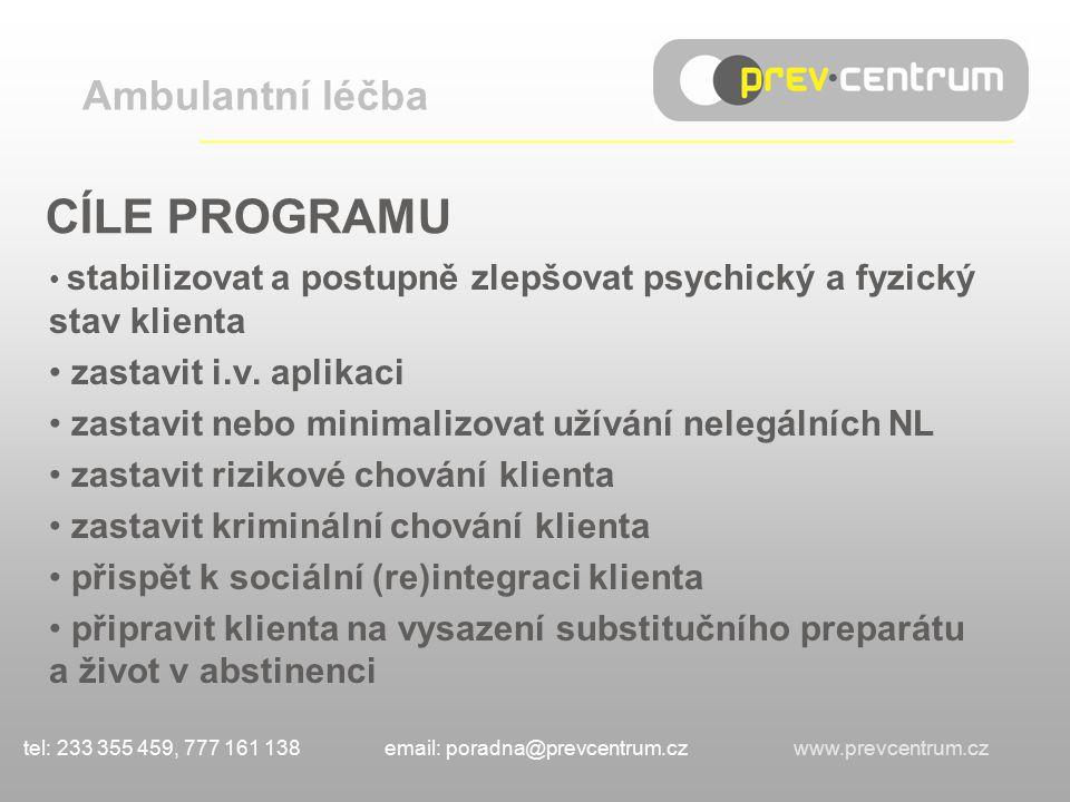 CÍLE PROGRAMU stabilizovat a postupně zlepšovat psychický a fyzický stav klienta zastavit i.v.