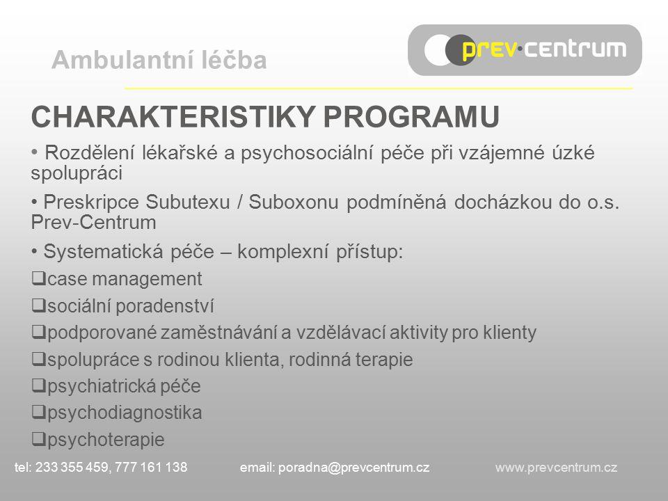 CHARAKTERISTIKY PROGRAMU Rozdělení lékařské a psychosociální péče při vzájemné úzké spolupráci Preskripce Subutexu / Suboxonu podmíněná docházkou do o.s.