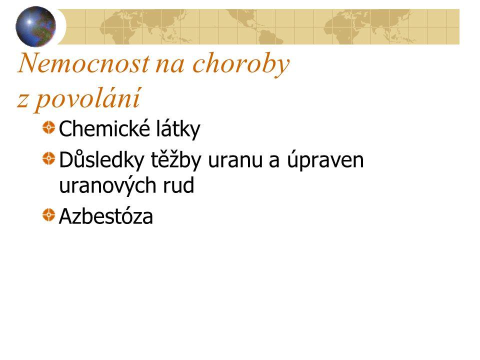 Nemocnost na choroby z povolání Chemické látky Důsledky těžby uranu a úpraven uranových rud Azbestóza