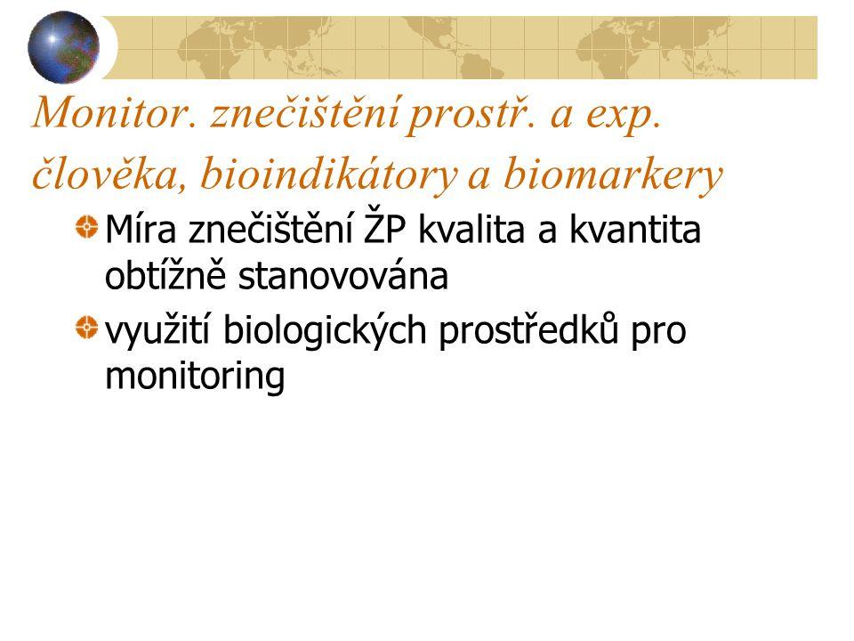 Monitor. znečištění prostř. a exp. člověka, bioindikátory a biomarkery Míra znečištění ŽP kvalita a kvantita obtížně stanovována využití biologických