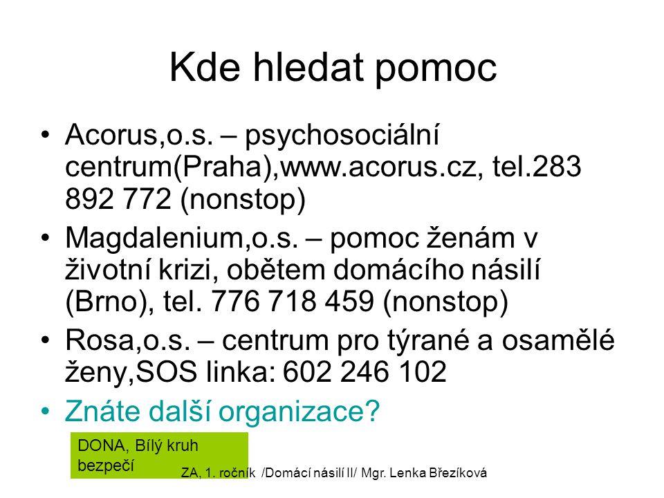 Kde hledat pomoc Acorus,o.s. – psychosociální centrum(Praha),www.acorus.cz, tel.283 892 772 (nonstop) Magdalenium,o.s. – pomoc ženám v životní krizi,