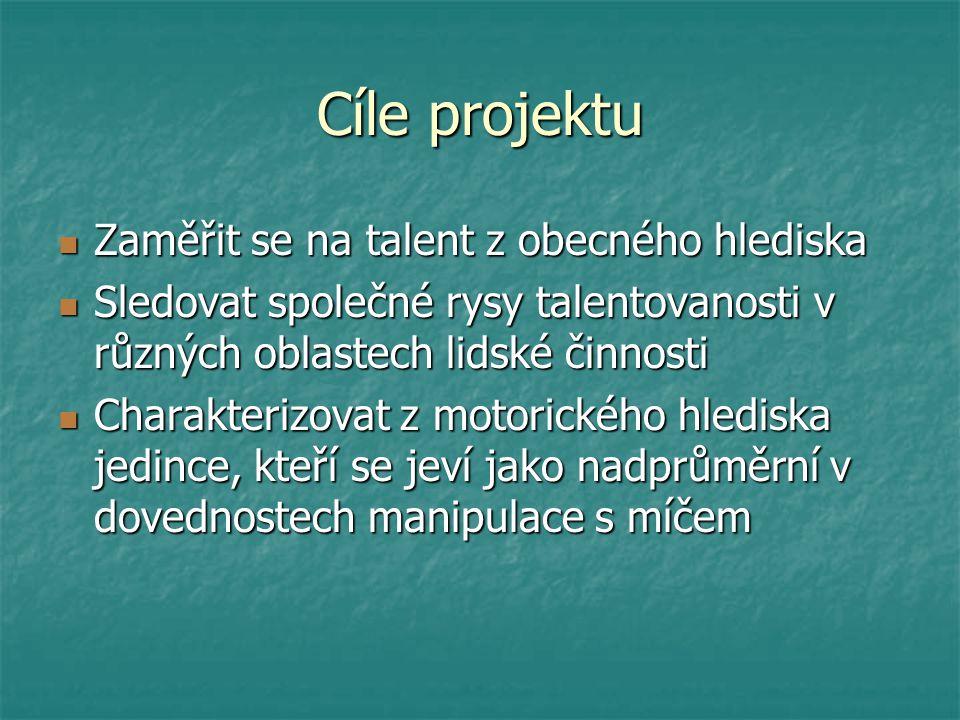 Cíle projektu Zaměřit se na talent z obecného hlediska Zaměřit se na talent z obecného hlediska Sledovat společné rysy talentovanosti v různých oblast