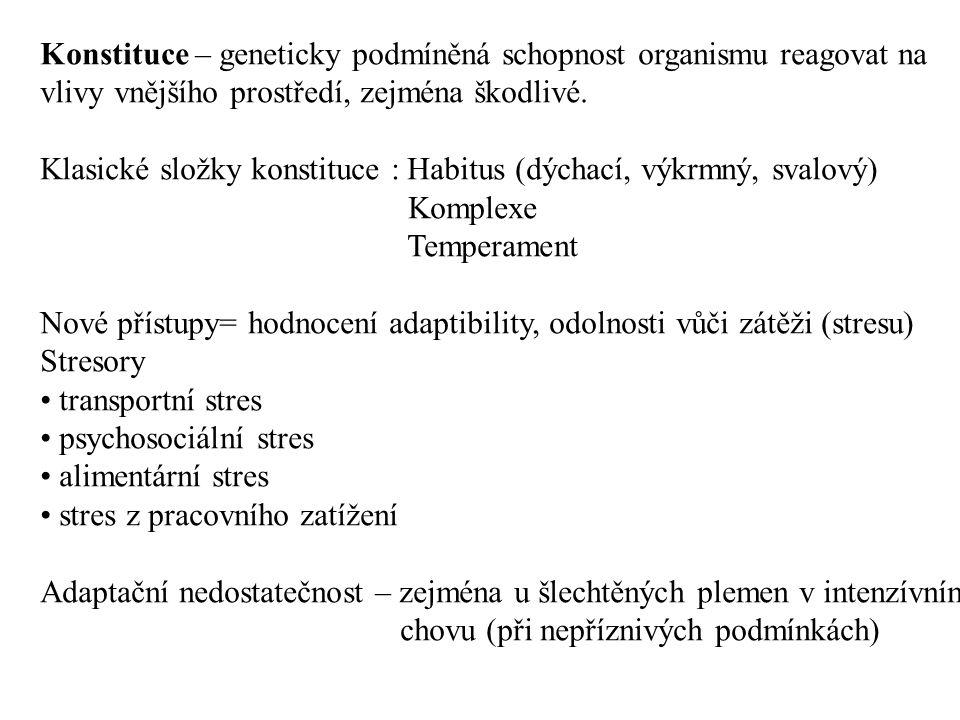 Praktické znaky dobré konstituce : přiměřená užitkovost zdraví dlouhověkost Péče o konstituci : jde o interakci genotypu a prostředí optimalizovat životní prostředí trenink selekce zvířat dle KU, KDZ KONDICE : aktuální stav těla zvířete daný výživou, ošetřováním, využíváním a zdravotním stavem Typy kondice: chovná, pracovní, výstavní, výkrmová, závodní, pastevní hladová DEGENERACE – zhroucení organismu – snížení životaschopnosti následkem chybného šlechtění