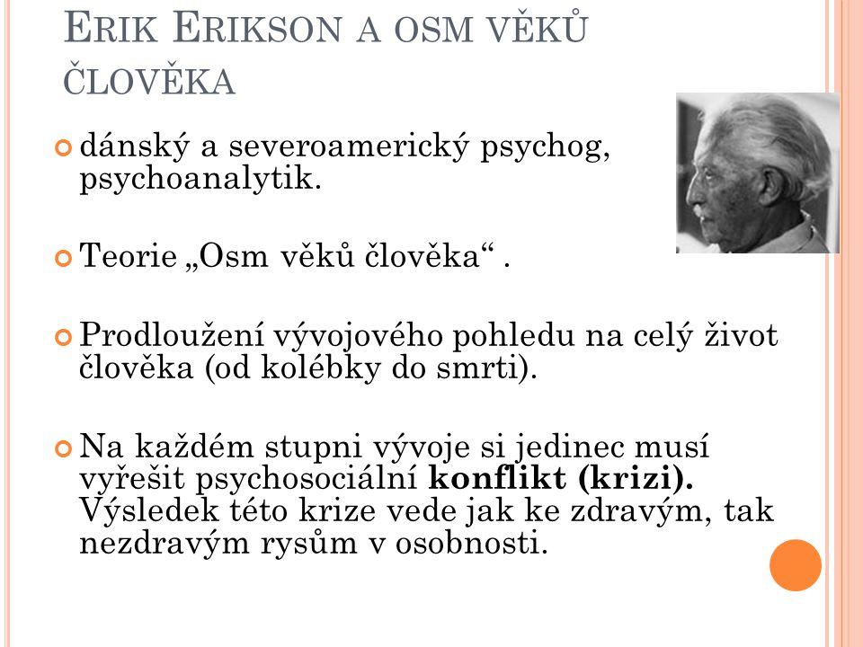 """E RIK E RIKSON A OSM VĚKŮ ČLOVĚKA dánský a severoamerický psychog, psychoanalytik. Teorie """"Osm věků člověka"""". Prodloužení vývojového pohledu na celý ž"""