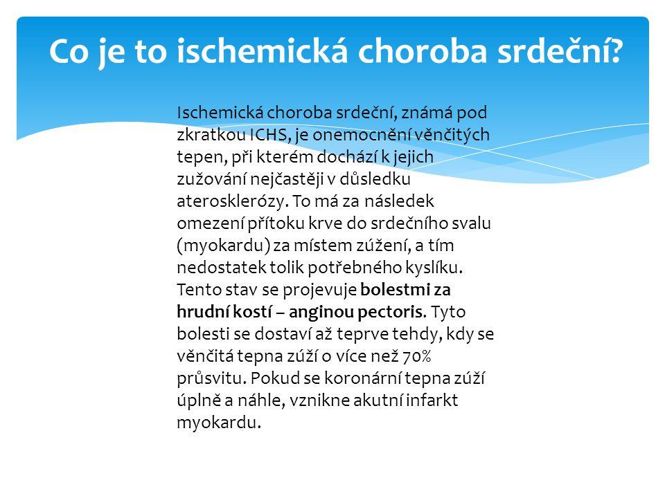 ETIOLOGIE ICHS Nemoc je většinou způsobena aterosklerózou věnčitých tepen.