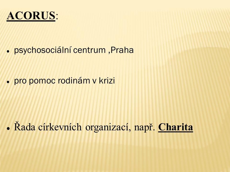 ACORUS: psychosociální centrum,Praha pro pomoc rodinám v krizi Řada církevních organizací, např.