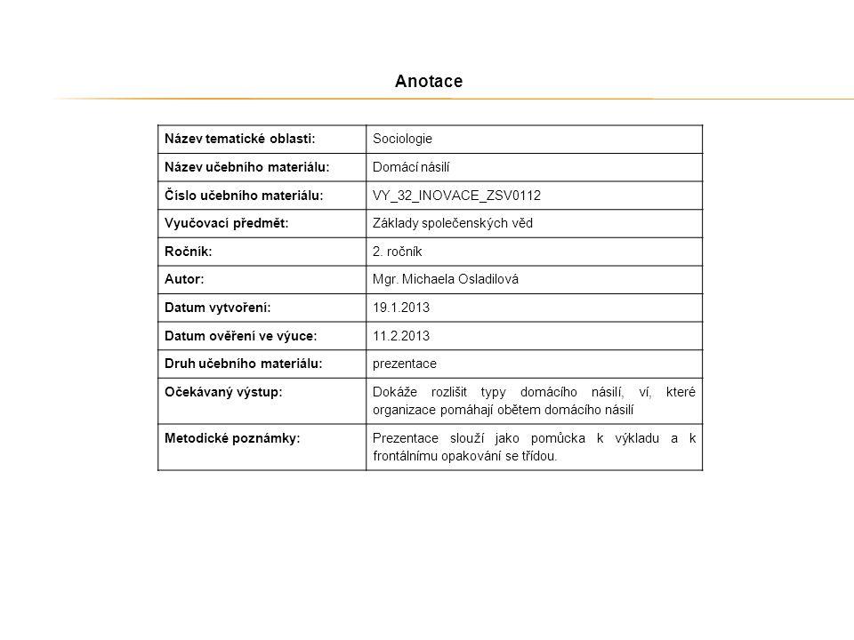 Anotace Název tematické oblasti: Sociologie Název učebního materiálu: Domácí násilí Číslo učebního materiálu: VY_32_INOVACE_ZSV0112 Vyučovací předmět: Základy společenských věd Ročník: 2.
