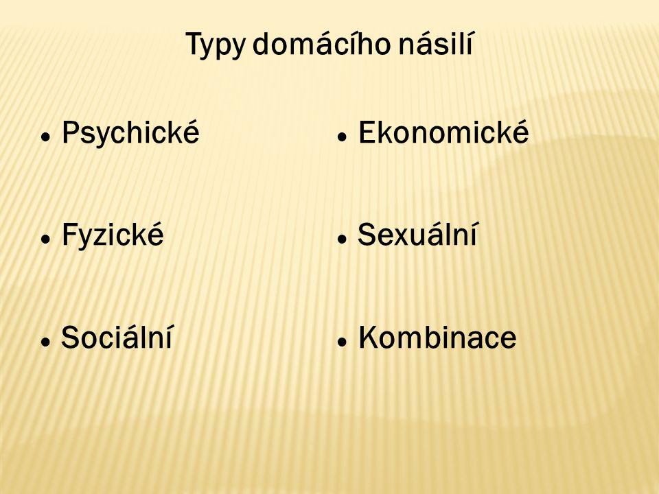 Typy domácího násilí Psychické Fyzické Sociální Ekonomické Sexuální Kombinace