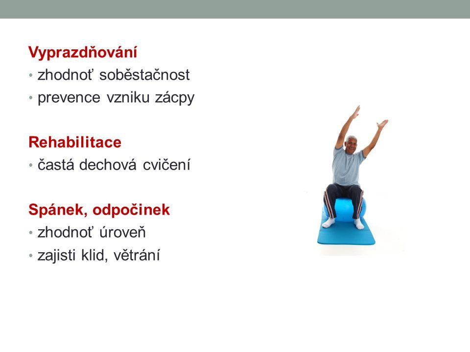 Vyprazdňování zhodnoť soběstačnost prevence vzniku zácpy Rehabilitace častá dechová cvičení Spánek, odpočinek zhodnoť úroveň zajisti klid, větrání