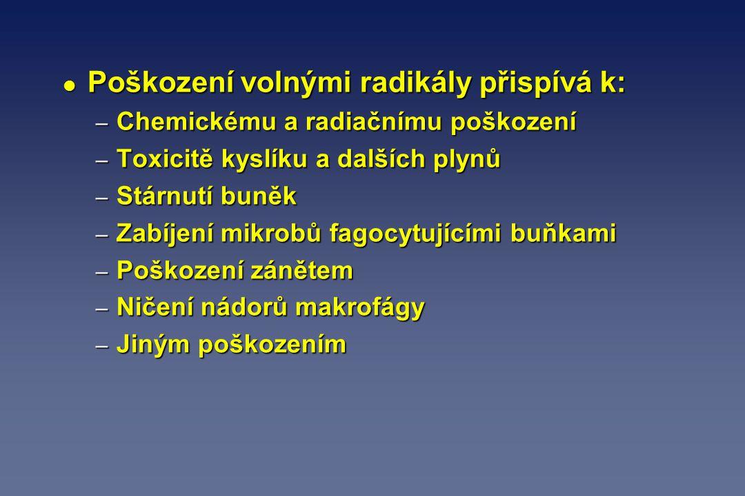 l Poškození volnými radikály přispívá k: – Chemickému a radiačnímu poškození – Toxicitě kyslíku a dalších plynů – Stárnutí buněk – Zabíjení mikrobů fa