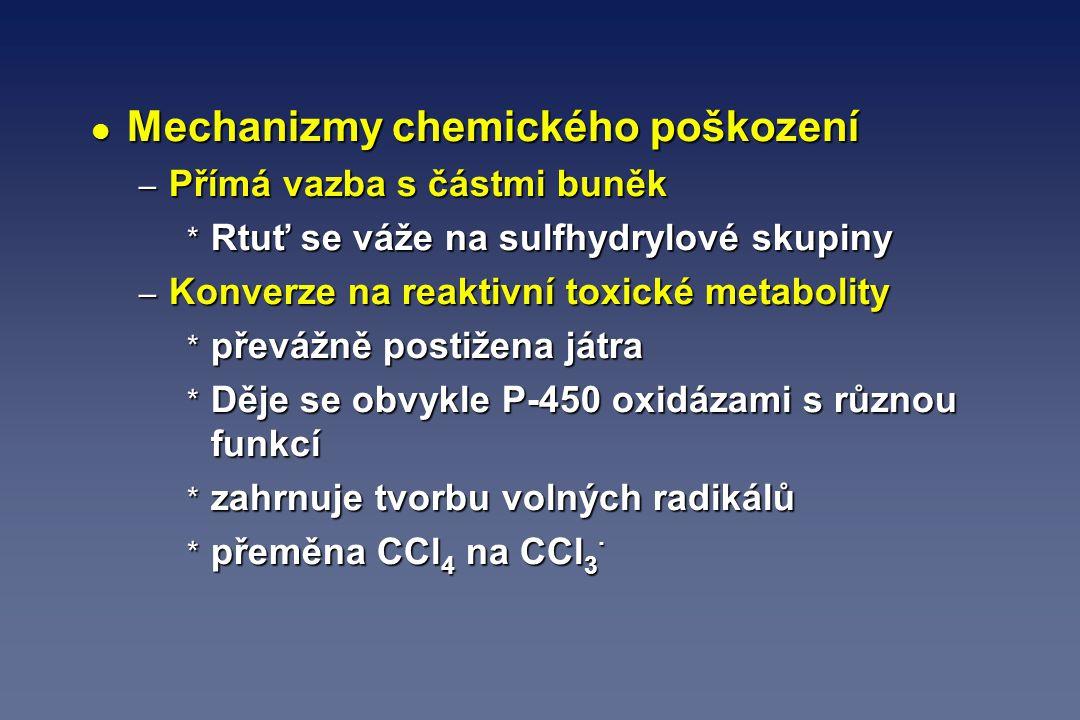l Mechanizmy chemického poškození – Přímá vazba s částmi buněk * Rtuť se váže na sulfhydrylové skupiny – Konverze na reaktivní toxické metabolity * př