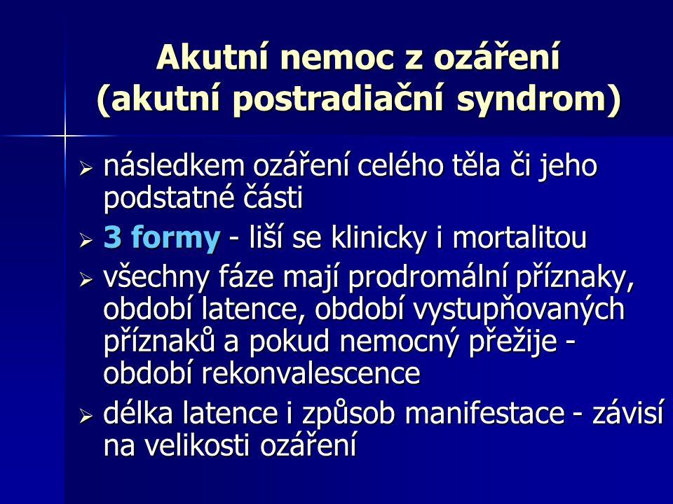 Neurovaskulární syndrom  vznik po dávce několika desítek Gy (  50 Gy)  krátká prodromální fáze (nauzea, zvracení)  rychlý nástup letargie, apatie, ataxie, záchvaty (grand mal)  rezistentní hypotenze, arytmie, šok  smrt v rozmezí 24 - 48 hod