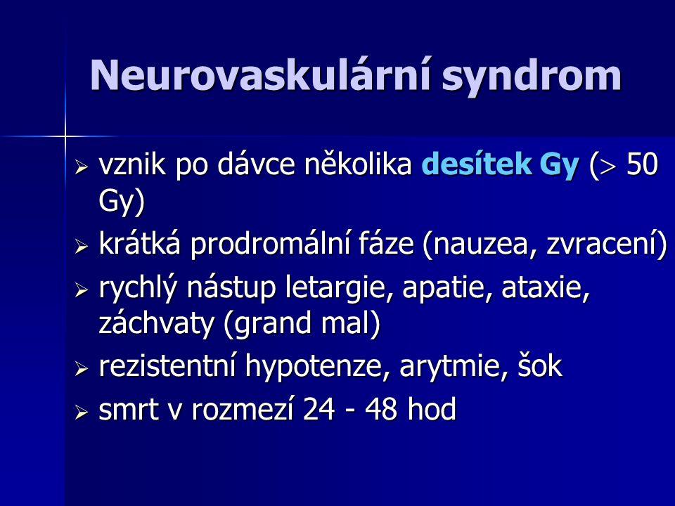 Gastrointestinální syndrom  vznik po dávce kolem 10 Gy  prodromy: anorexie, nauzea, zvracení  latence 3 - 7 dní  Úporné zvracení, průjmy, známky dehydratace (dány úvodní toxémií z nekróz tkání a pokračující atrofie střevní sliznice)  zmenšení plazmatického volumu, oběhové selhání  terminálně - nekrózy střevní sliznice, masívní ztráty plazmy do střeva, smrt