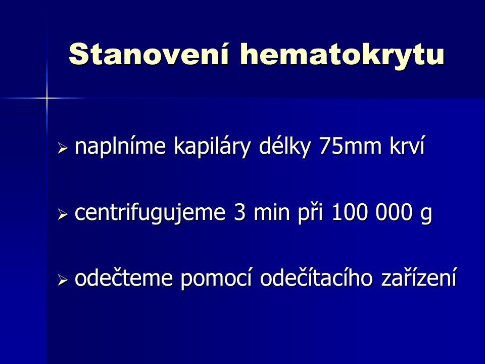 Počítání leukocytů  do baničky s 475  l Türkova roztoku - 25  l krve  2 – 3 min necháme stát  protřepeme a naplníme Bürkerovu komůrku  počítáme v 50 čtvercích a vypočítáme T=Σ50 x 100 (počet/  l) T=Σ50 x 100 (počet/  l)