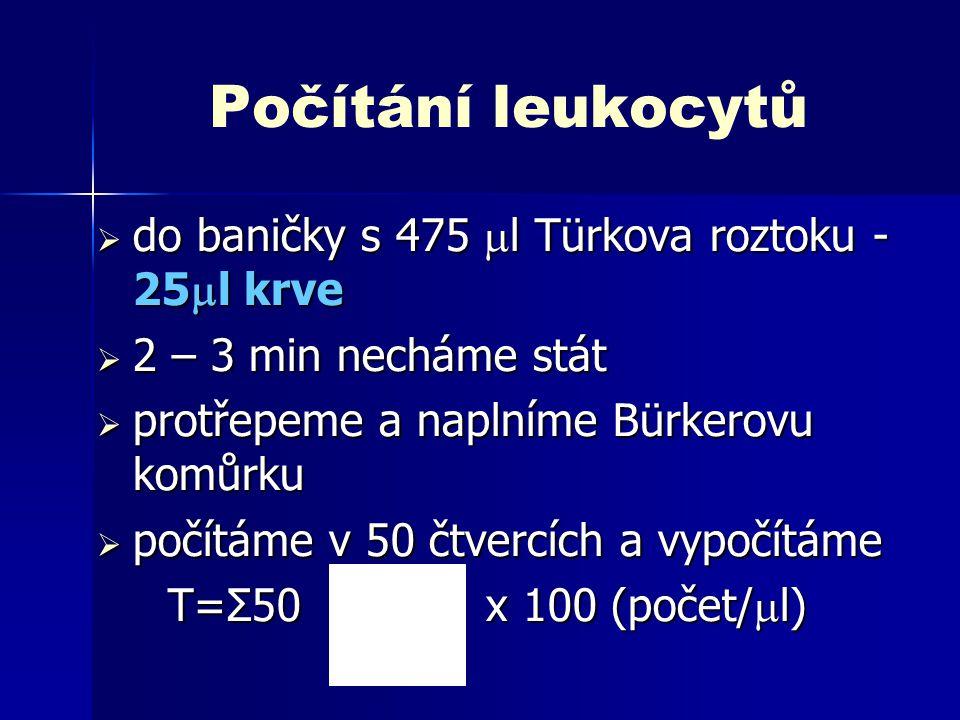 Počítání destiček  do baničky s prokainem - 25  l krve  20 minut čekáme na hemolýzu erytrocytů  protřepeme a naplníme Bürkerovu komůrku  počítáme ve 20 obdélnících a vypočítáme T=Σ20 x 1000 (počet/  l)  u člověka 150 - 300 tis./  l, u potkana cca 600 tis./  l u potkana cca 600 tis./  l