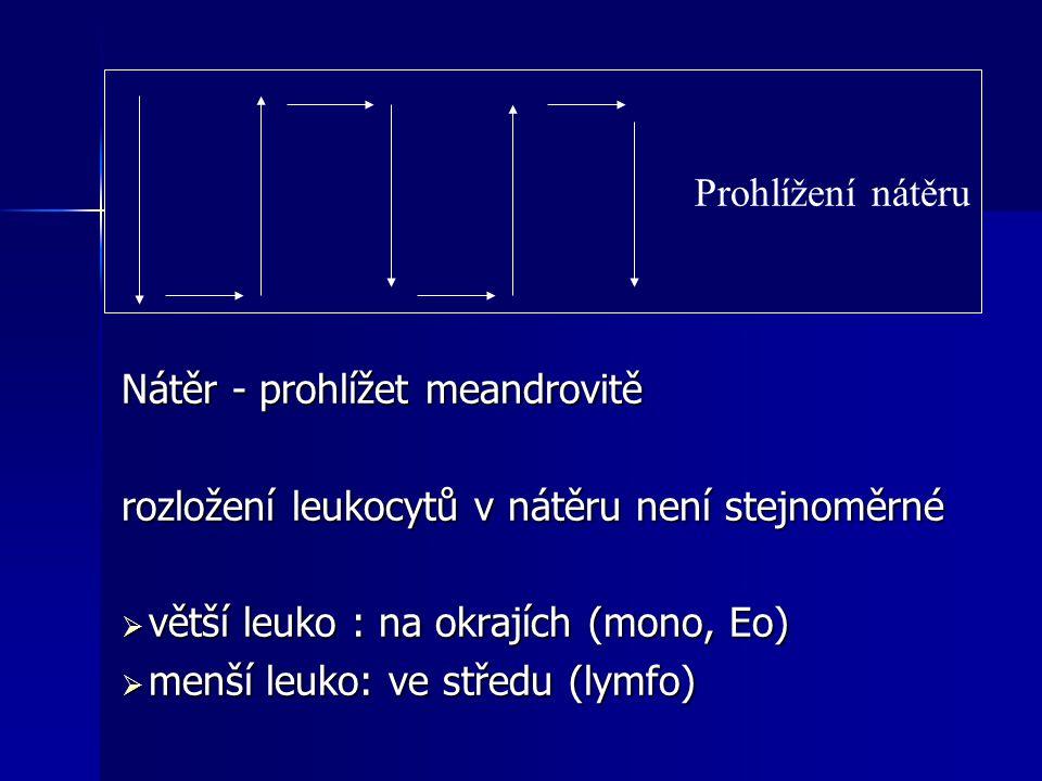 Diferenciální rozpočet u laboratorního potkana  Počet leukocytů............cca 12.5 tis.mm -3 - neutrofilní granulocyty 18 - 36% - neutrofilní granulocyty 18 - 36% - eosinofilní granulocyty 1 - 4% - eosinofilní granulocyty 1 - 4% - bazofilní granulocyty 0 - 1% - bazofilní granulocyty 0 - 1% - lymfocyty 62 - 75% - lymfocyty 62 - 75% - monocyty 1 - 6% - monocyty 1 - 6%