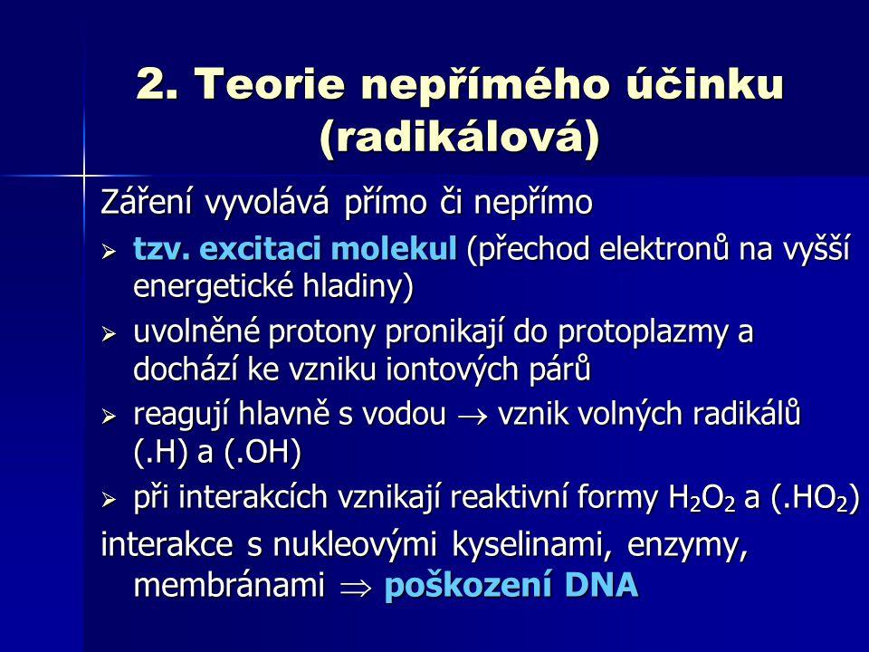 2. Teorie nepřímého účinku (radikálová) Záření vyvolává přímo či nepřímo  tzv. excitaci molekul (přechod elektronů na vyšší energetické hladiny)  uv