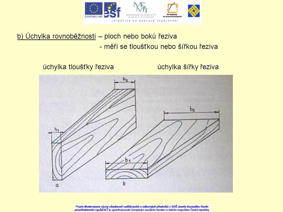 b) Úchylka rovnoběžnosti – ploch nebo boků řeziva - měří se tloušťkou nebo šířkou řeziva úchylka tloušťky řeziva úchylka šířky řeziva